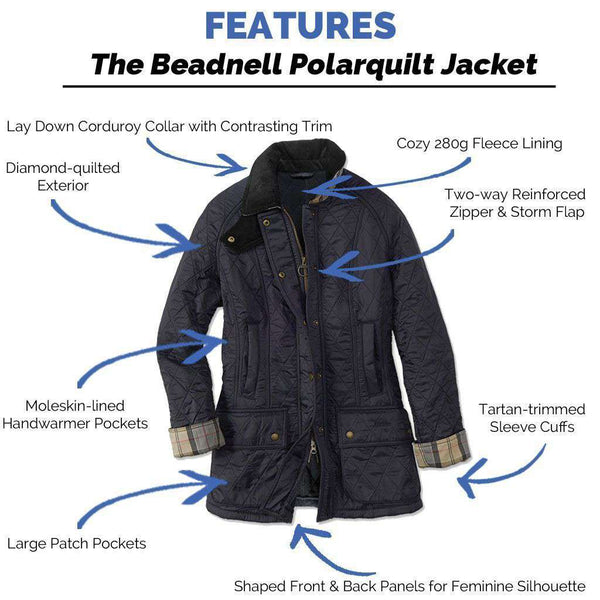 Women's Jackets - Beadnell Polarquilt Jacket In Navy By Barbour