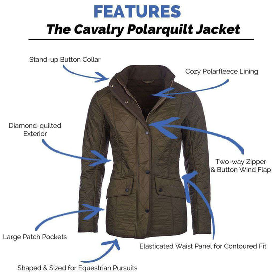 Women's Jackets - Cavalry Polarquilt Jacket In Dark Olive Green By Barbour