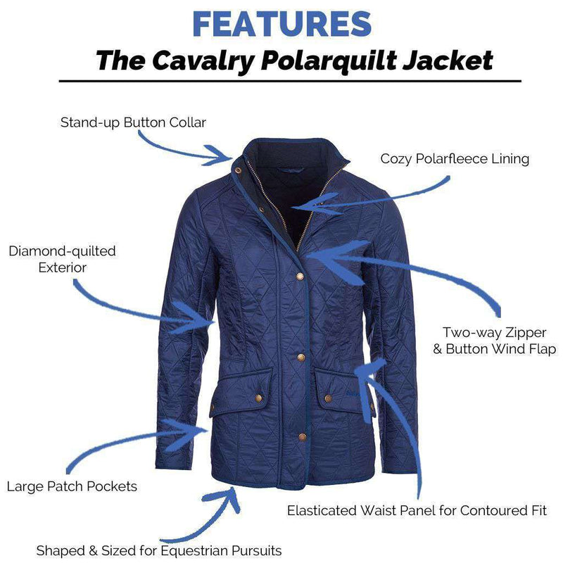 Women's Jackets - Cavalry Polarquilt Jacket In Dress Blue By Barbour