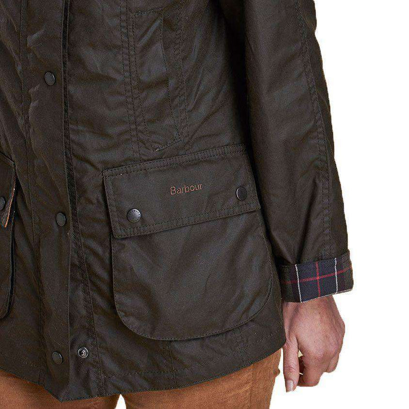 Classic Beadnell Wax Jacket in Olive Green by Barbour - FINAL SALE