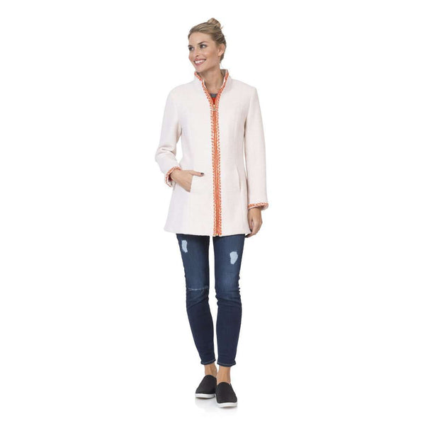 Women's Jackets - Hand-Embroidered Boucle Zip Coat In Creme By Sail To Sable - FINAL SALE