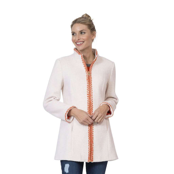 Hand-Embroidered Boucle Zip Coat in Creme by Sail to Sable - FINAL SALE