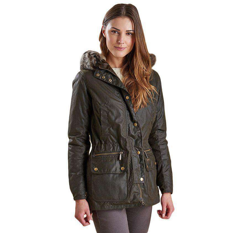 Women's Jackets - Kelsall Waxed Jacket In Olive Green By Barbour