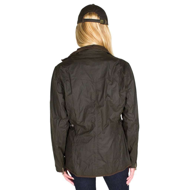 Ladies Utility Waxed Jacket in Olive Green by Barbour