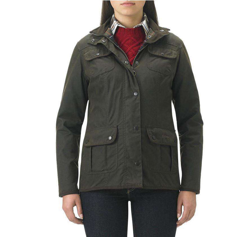 Women's Jackets - Ladies Utility Waxed Jacket In Olive Green By Barbour