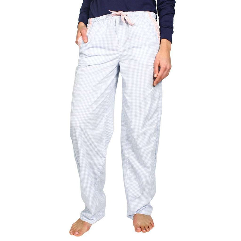 Women's Loungewear/Boxers - Lounge Pant In Baby Blue Seersucker By Frat Collection - FINAL SALE