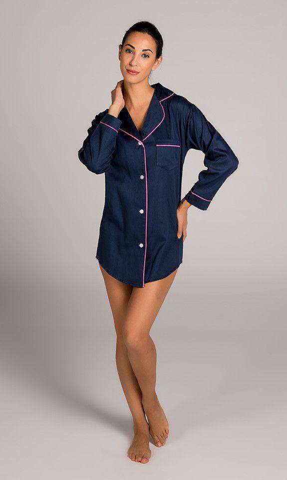 Women's Loungewear/Boxers - Navy And Pink Women's Satin Sleep Shirt By Malabar Bay - FINAL SALE