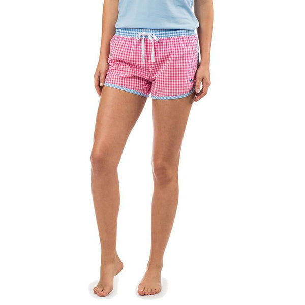 Women's Loungewear/Boxers - Women's Gingham Lounge Short In Bloom Pink By Southern Tide