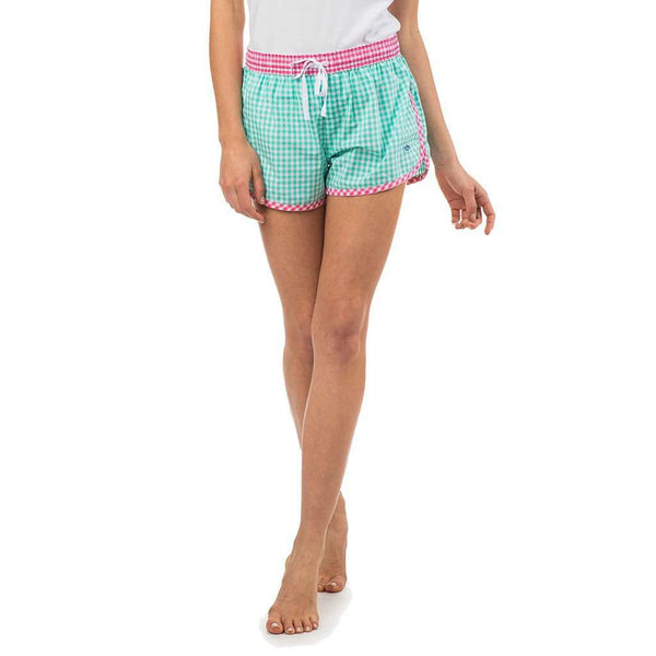 Women's Loungewear/Boxers - Women's Gingham Lounge Short In Seaglass By Southern Tide