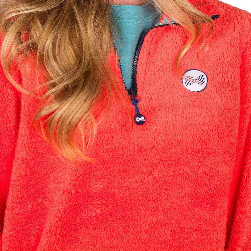 Women's Outerwear - 1/4 Zip Fleece In Coral By The Fraternity Collection