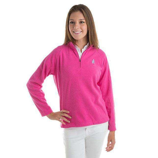 Women's Outerwear - 1/4 Zip Fleece In Hot Pink By Johnnie-O