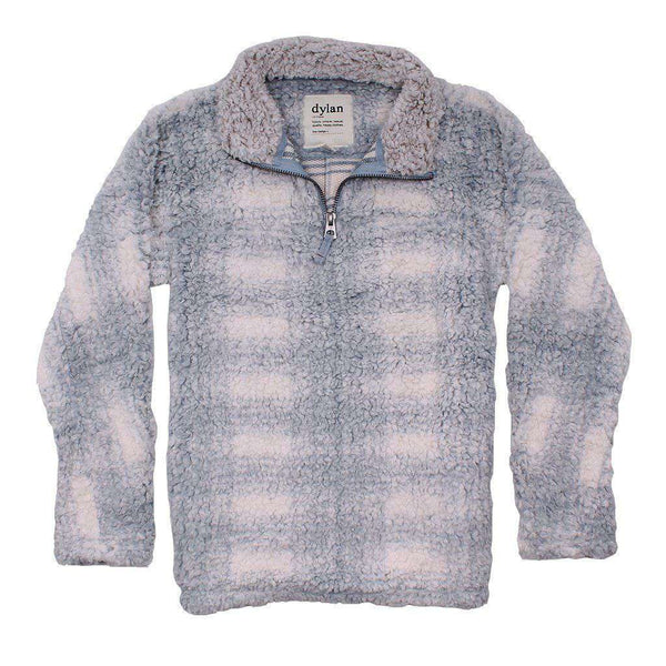 Women's Outerwear - Big Plaid Frosty Tipped Women's Stadium Pullover In Blue By True Grit (Dylan)