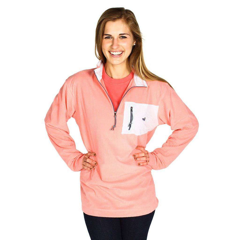 Women's Outerwear - FieldTec Dune Pullover In Camelia With Seersucker Pocket By Southern Marsh