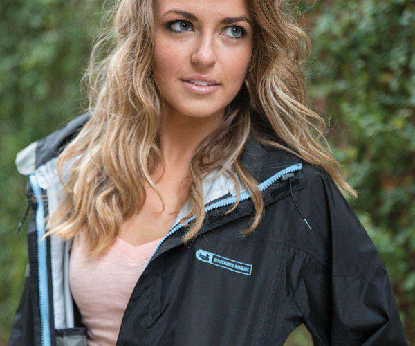 Women's Outerwear - FieldTec Rain Jacket In Black By Southern Marsh - FINAL SALE