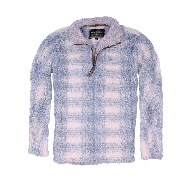 Women's Outerwear - Frosty Tipped Big Plaid Pile 1/4 Zip Pullover In Blue By True Grit
