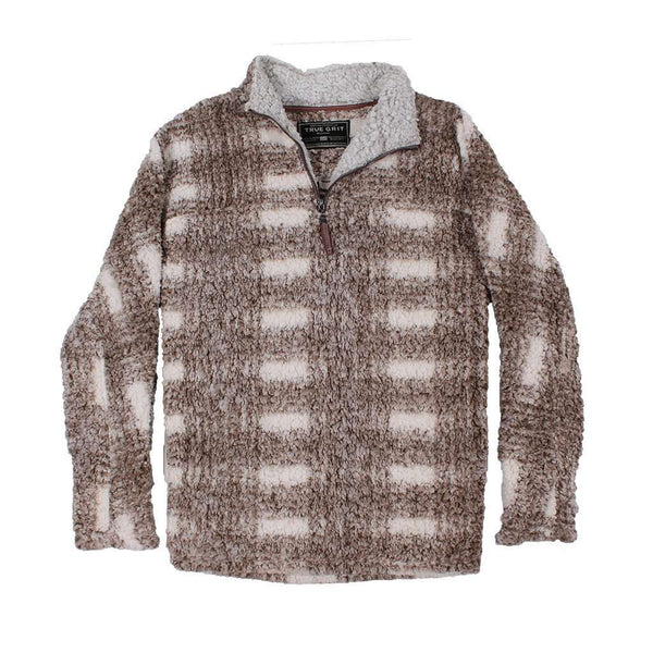 Women's Outerwear - Frosty Tipped Big Plaid Pile 1/4 Zip Pullover In Brown By True Grit