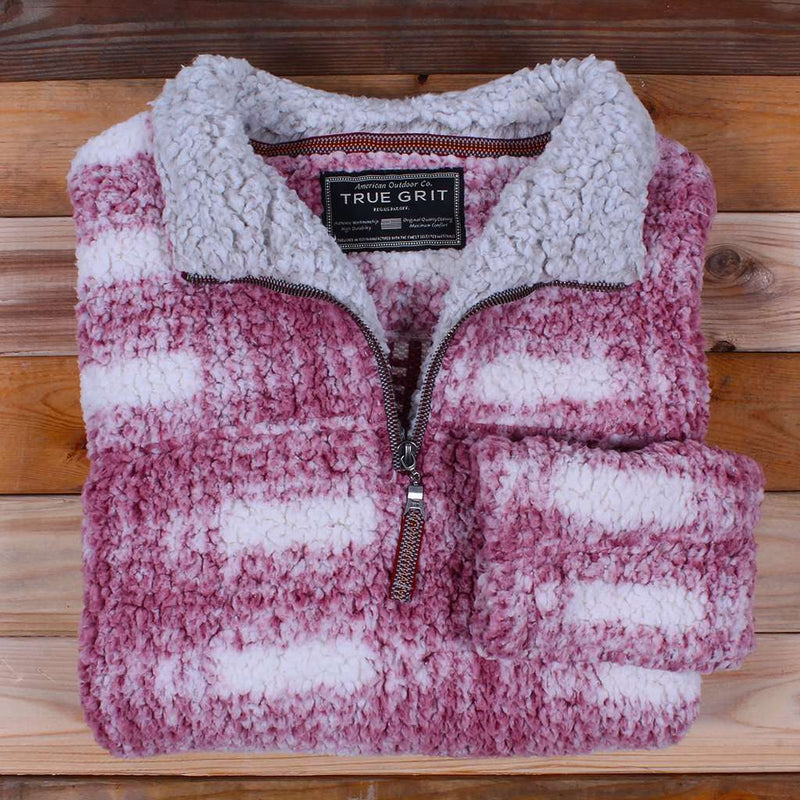 Women's Outerwear - Frosty Tipped Big Plaid Pile 1/4 Zip Pullover In Vintage Wine By True Grit