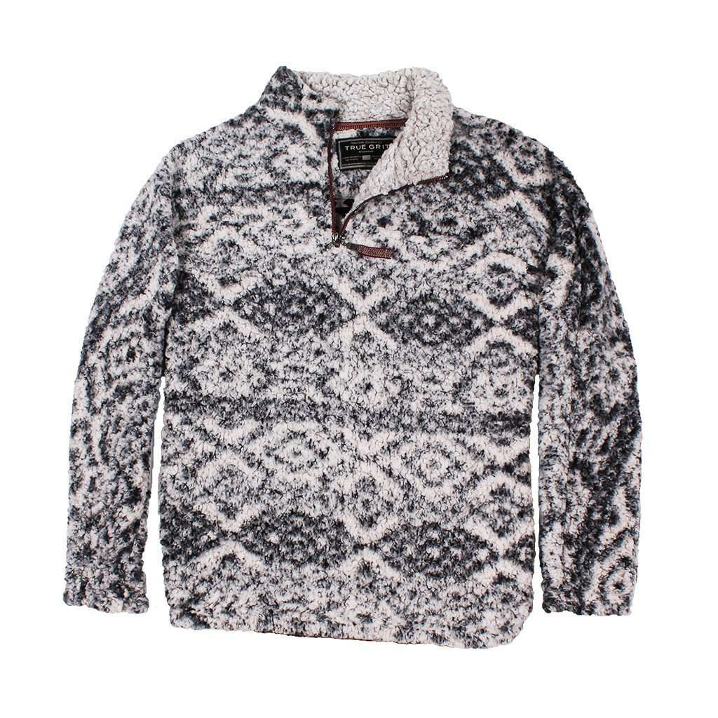 Frosty Tipped Tribal Pile 1/4 Zip Pullover in Charcoal by True Grit - FINAL SALE