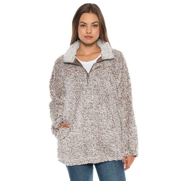 Women's Outerwear - Frosty Tipped Women's Stadium Pullover In Brown By True Grit (Dylan)