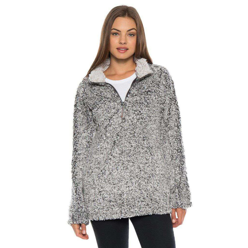 Women's Outerwear - Frosty Tipped Women's Stadium Pullover In Charcoal By True Grit (Dylan)