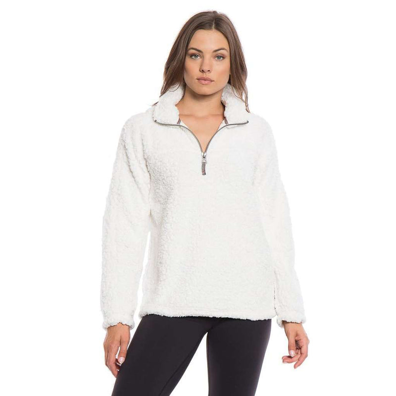 Women's Outerwear - Frosty Tipped Women's Stadium Pullover In Ivory By True Grit (Dylan)