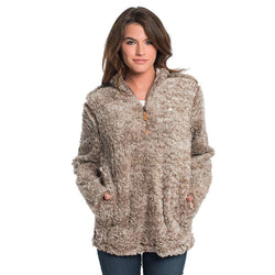 Women's Outerwear - Heather Sherpa Pullover With Pockets In Caribou By The Southern Shirt Co. - FINAL SALE