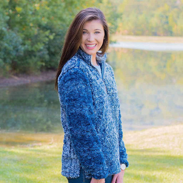 Heathered Quarter Zip Sherpa Pullover in Navy by The Southern Shirt Co. - FINAL SALE