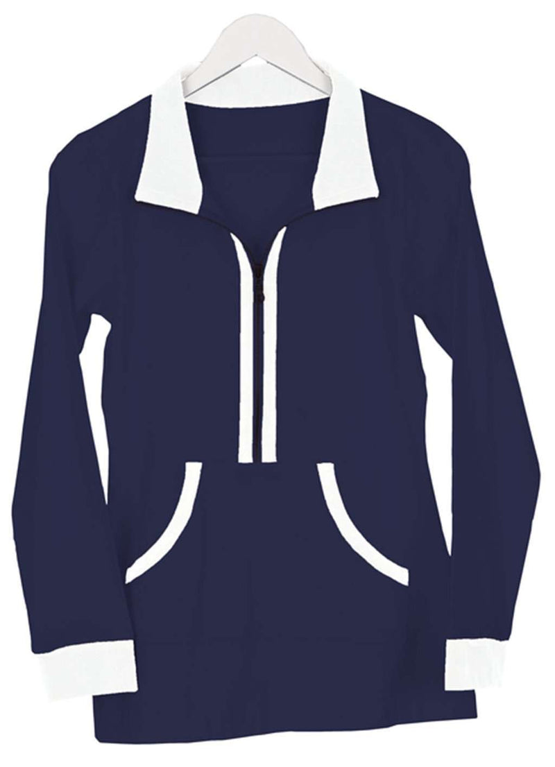 Women's Outerwear - Polly Pullover In Navy And White Stripe By Duffield Lane - FINAL SALE