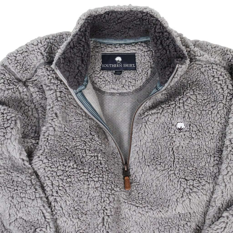 Quarter Zip Sherpa Pullover in Alloy Grey by The Southern Shirt Co. - FINAL SALE