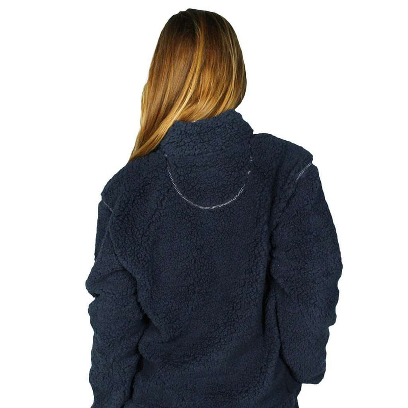 Quarter Zip Sherpa Pullover in Midnight Navy by The Southern Shirt Co. - FINAL SALE