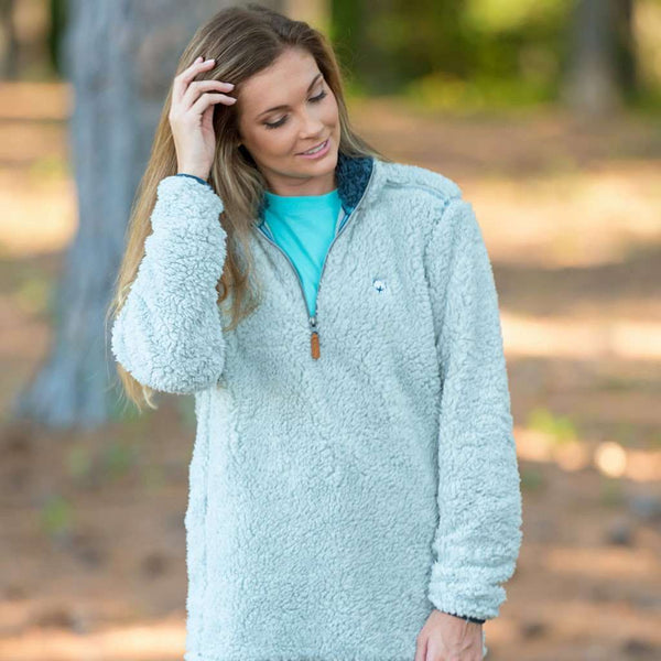 Quarter Zip Sherpa Pullover in Pearl Blue by The Southern Shirt Co. - FINAL SALE