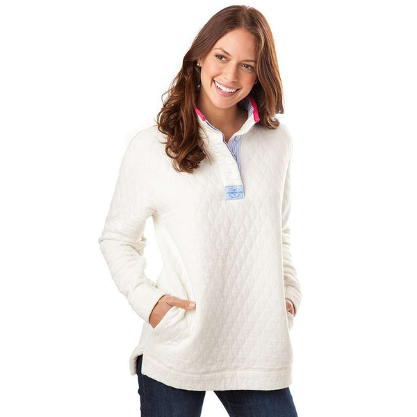 Southern Tide Quilted Skiptide Pullover In Marshmallow