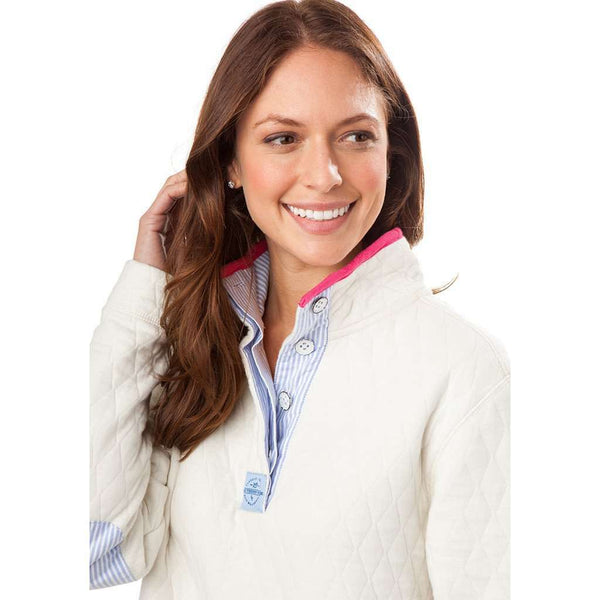Southern Tide Quilted Skiptide Pullover In Marshmallow Country Club Prep