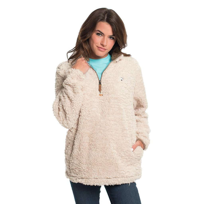 Women's Outerwear - Sherpa Pullover With Pockets In Oyster Gray By The Southern Shirt Co. - FINAL SALE