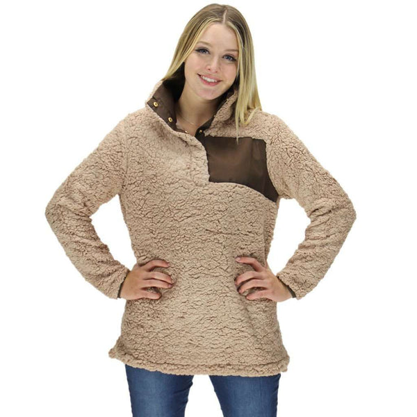 Snap Collar Sherpa Pullover in Light Brown by Everest Clothing - FINAL SALE