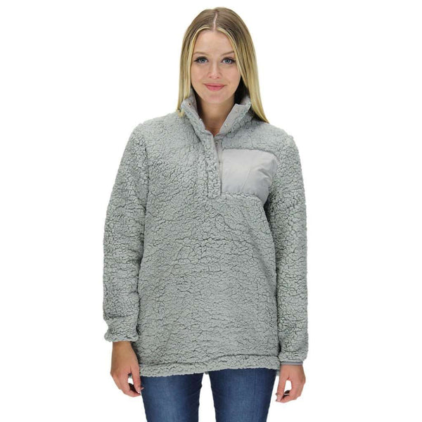 Snap Collar Sherpa Pullover in Light Grey by Everest Clothing - FINAL SALE