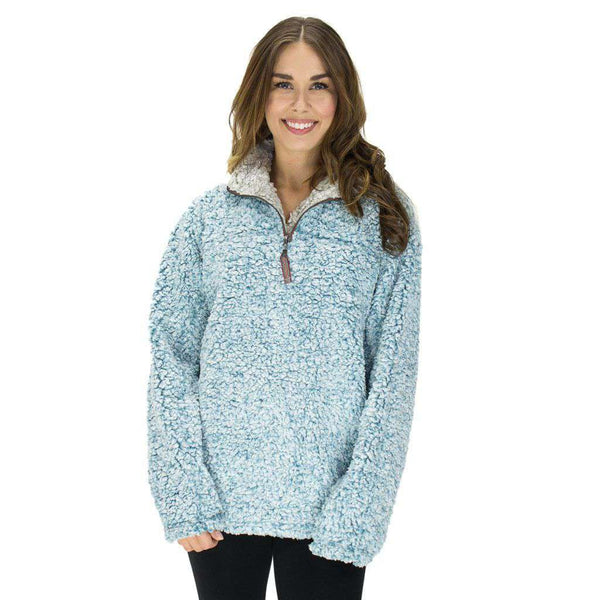 Women's Outerwear - The Original Frosty Tipped Pile 1/2 Zip Pullover In Aqua By True Grit