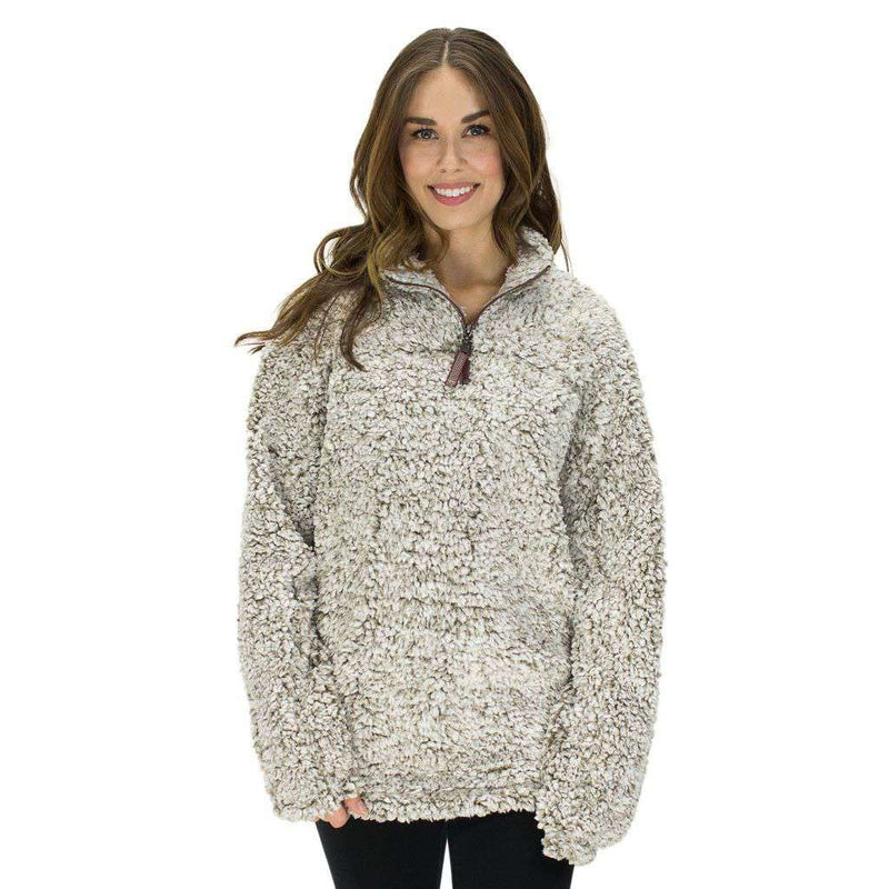 Women's Outerwear - The Original Frosty Tipped Pile 1/2 Zip Pullover In Brown By True Grit