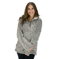 Women's Outerwear - The Original Frosty Tipped Pile 1/2 Zip Pullover In Charcoal By True Grit