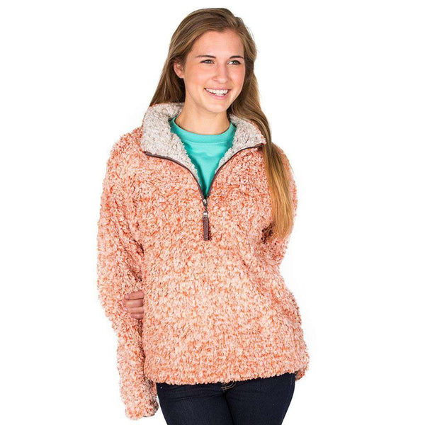 Women's Outerwear - The Original Frosty Tipped Pile 1/2 Zip Pullover In Spice By True Grit