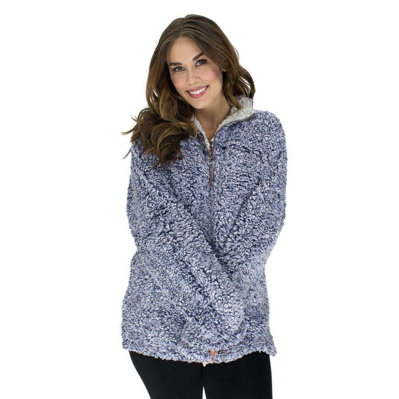 Women's Outerwear - The Original Frosty Tipped Pile 1/2 Zip Pullover In Vintage Blue By True Grit