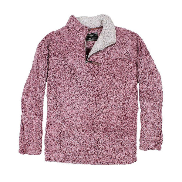 Women's Outerwear - The Original Frosty Tipped Pile 1/2 Zip Pullover In Vintage Wine By True Grit