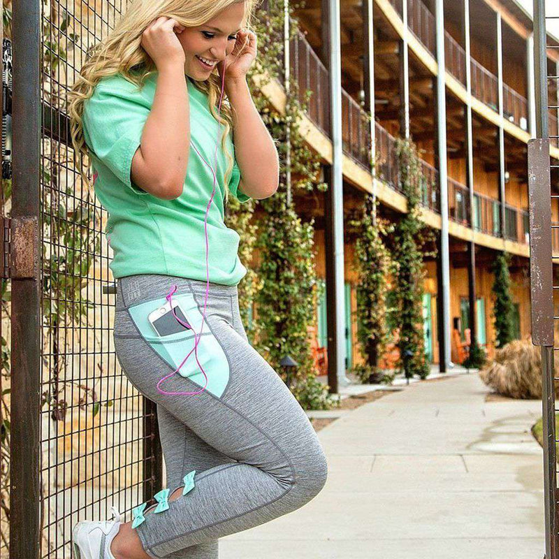 Bow Back Leggings in Mint with Grey by Jadelynn Brooke