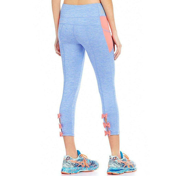 Bow Back Leggings in Periwinkle with Coral by Jadelynn Brooke - FINAL SALE