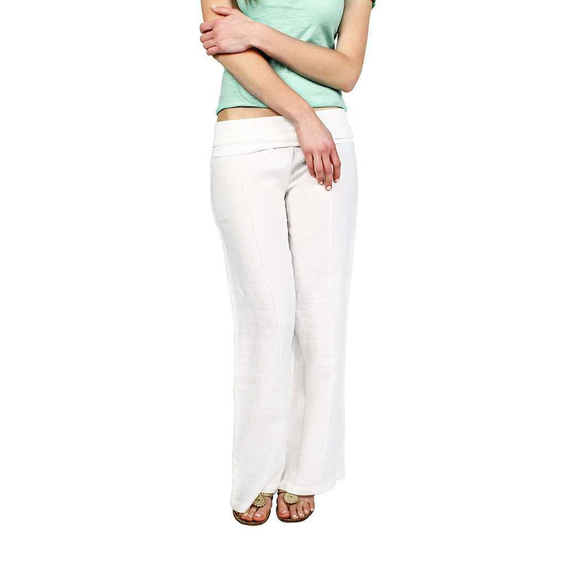Linen Roll Down Pants in White by Hiho
