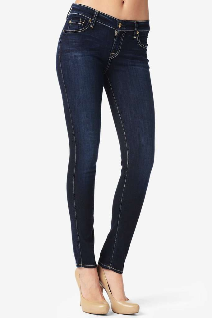 Slim Cigarette Jeans in Black Knight by 7 For All Mankind - FINAL SALE