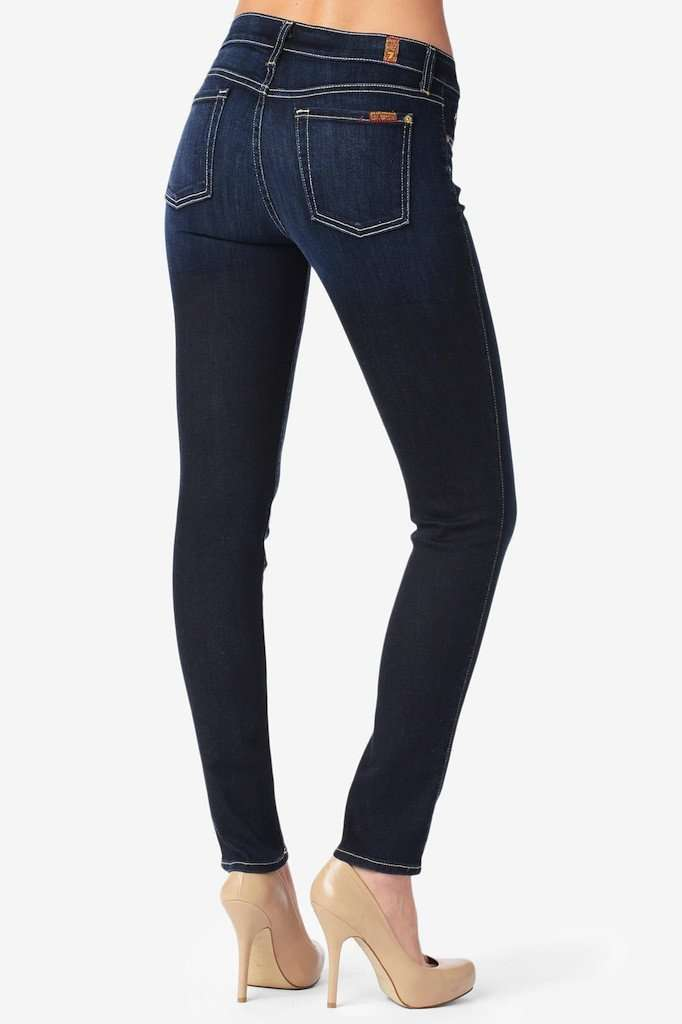 Women's Pants - Slim Cigarette Jeans In Black Knight By 7 For All Mankind - FINAL SALE