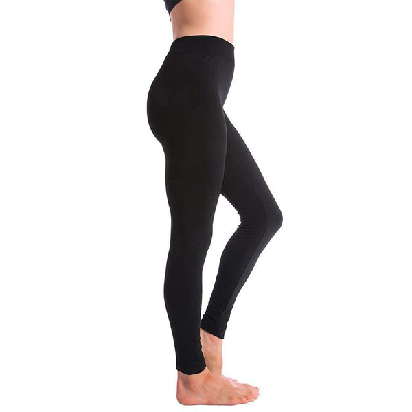 Ultra-Soft Seamless Fleece Lined Leggings in Black
