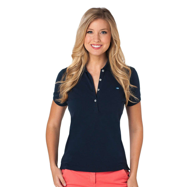 Women's Polo Shirts - Women's 4 Button Polo In Navy By Southern Tide