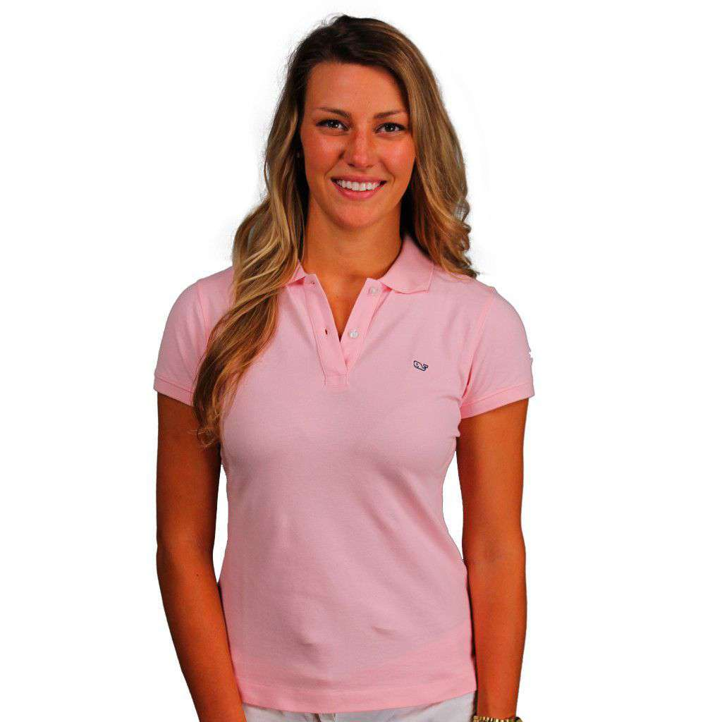 Vineyard Vines Womens Classic Polo In Flamingo Pink Country Club Prep